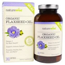 NatureWise Organic Non-GMO Flaxseed Oil 1000mg Softgels - 240 Count