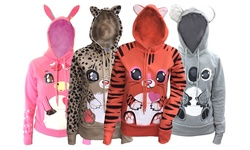 Animal Graphic Zip-up Hooded Sweatshirt With Ears: Purple Cat/xl