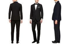 Verno Notch Lapel Black Tuxedos: Slim/40rx34w