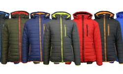 Spire By Galaxy Men's Puffer Jacket - Navy & Orange - Size: Small