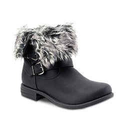 Om Crescent Multi Buckle Fur Lined Adjustable Cuff Boots: Black/size 10