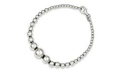 "Italian Solid Sterling Silver - 7"" Graduated Bead Bracelet"