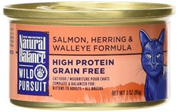 Natural Balance Wild Pursuit Salmon, Herring & Walleye Formula Wet Cat Food, 3-Ounce Can (Pack of 24)