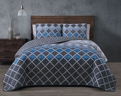 3-piece Reversible Quilt Sets: Levi-blue/queen