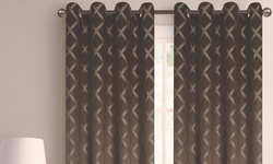J&v Textile 110 x 84 Printed Blackout Grommet Window Panel Pair Beige