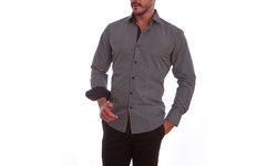 Azaro Uomo Men's Pladed Button Down Shirt - Black - Size: Large