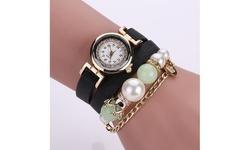 Wear'em Women's Crown and Pearl PU Leather Wrist Wrap Watch - Black