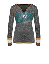 VF LSG Miami Dolphins Women's Crew Neck T-Shirts - Black/Staccato - X-L