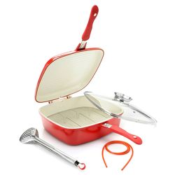 Cook's Companion Uni Versa Flip Pan with Basting Lid, Tongs & Rack - Red