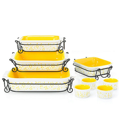 Cook's Companion 20pc Ceramic Bakeware Set - Yellow