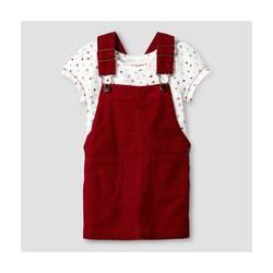 Oshkosh Girl's Slub Jersey Top & Cord Skirtall 2 Pc Set - Red - Size: 3T