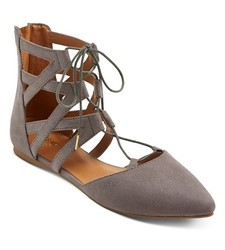 Mossimo Women's Nara Lace Up Ballet Flats - Grey - Size: 8.5
