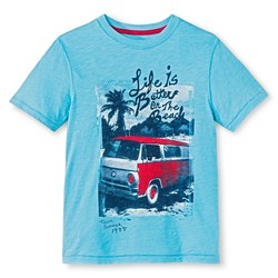 Cherokee Boys' Life is Better on the Beach Graphic T-Shirt - Blue - Size:S