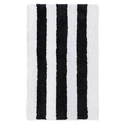 "Sabrina Soto 20"" x 34"" Stripe Pattern Tulum Bath Rug - Black/White"