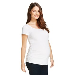 Women's Maternity Scoop Neck Short Sleeve T-shirt - White - Size: XS
