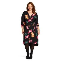 Ava & Viv Women's Plus Floral Print Wrap Dress - Black - Size: 1X