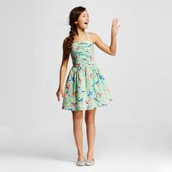 Cherokee Girls' Moonlight Jade Bird Print Dress - Mint - Size: M