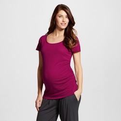Liz Lange Women's Slub Scoop Neck Maternity T-Shirts - Red Grape - Sz: XXL