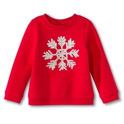 Circo Toddler Girls' Holiday Sweatshirt - Red - Size: 18M