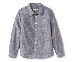 Cherokee Kids Boys' Slub Chambray Button Down Shirt - Grey - Size:XL Husky
