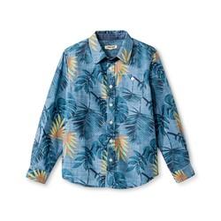 Cherokee Kids Boys' Button Down Shirt - Blue Palm - Size: Small