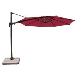 10' Offset Patio Umbrella w/ Solar Lights - Jet Setter Red