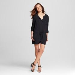 Merona Women's Long Sleeve Romper Ebony - Black - Size: XS