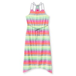 Circo Girls' Gray/Pink Stripe Maxi Dress - Pink Azalea - Size: M 7-8