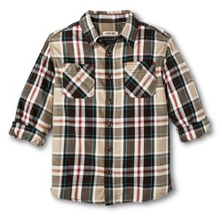 Cherokee Boys' Plaid Button Down Shirt - Branch Brown/Vintage Khaki - Med