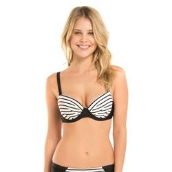 Women's Underwire Stripe Bikini Top - Black/White - Size: 34D/36C