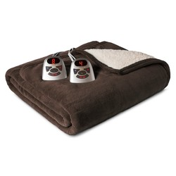 Biddeford Microplush w/ Sherpa Heated Electric Blanket - Brown - Size:Full