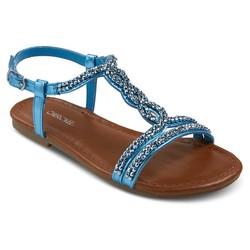 Cherokee Girls' Britt Jeweled Slide Sandals - Turquoise - Size: 2