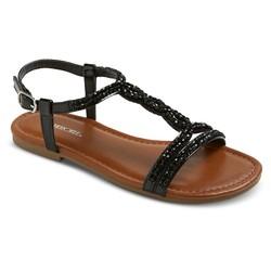 Cherokee Girls' Britt Jeweled Slide Sandals - Black - Size: 3