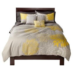 Anya 6-Piece Floral Print Duvet Cover Set - Gray/Yellow - Size: Queen