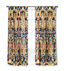 "Mudhut 84""x55"" Zaayan Geo Drape Curtain Panel - Multi"