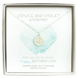 "Venice and Violet Women's 18"" Anchor Disc Necklace - Sterling Silver"