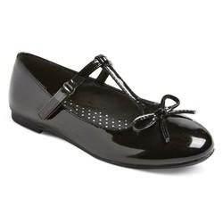 Cat & Jack Girls' Bettie Patent T-Strap Flats Ballet - Black - Size: 3