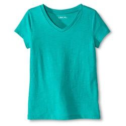 Cherokee Girls' Solid V-Neck Tee - Zanzibar Turquoise - Size: XL