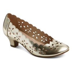 Tevolio Girl's Ada Chop Out Pumps - Gold - Size: 3