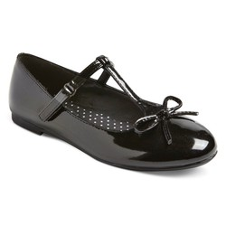 Cat & Jack Girls' Bettie Patent T-Strap Ballet Flats - Black - Size: 5