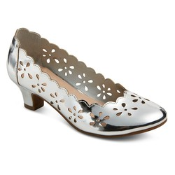 Tevolio Girls' Ada Chop Out Pumps - Silver - Size: 6