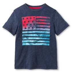 Cherokee Boy's Flag Graphic T-Shirt - Heathered Navy - Size: XS