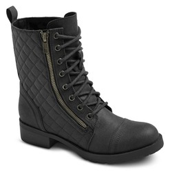Mossimo Women's Carmen Quilted Ankle Combat Boots - Black - Size: 6