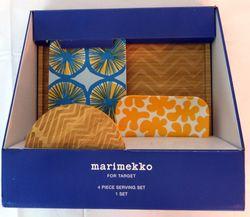 Marimekko 4Piece Serving Set with Bamboo Tray -Yellow Aqua
