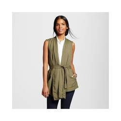 Who What Wear Women's Belted Vest - Olive Green - Size: S