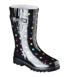 Molly Girl's Mid calf Rain Boot - Black - Size: 3