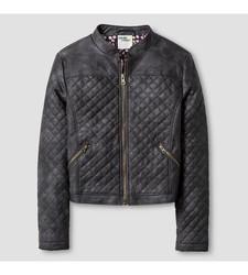 Genuine Kids from Oshkosh Girls' Quilted Moto Jacket - Grey - Size:S(6-6X)
