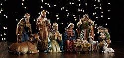 "Michael Adams Nativity Set- 9 Pieces- 5""H - Stoneresin- 2 Sets - Avalon Gallery - YC170"