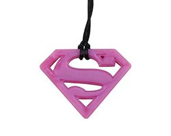 Bumkins Dc Comics Silicone Teething Pendant - Superman Rose Quartz