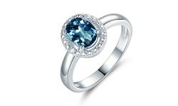 Sevil Women's 4CT Diamond Halo Ring - London Blue Topaz - Size: 7